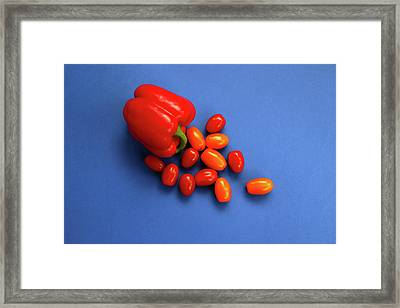 Tomatoes And Capsicum On Blue Framed Print