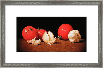 Tomatoes And Garlic Framed Print by Timothy Jones