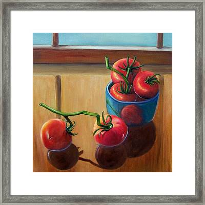 Tomatoes Fresh Off The Vine Framed Print