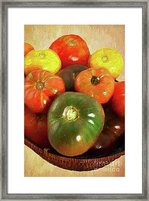Framed Print featuring the painting Tomatoes In A Basket Ap by Dan Carmichael