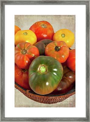 Framed Print featuring the photograph Tomatoes In A Basket by Dan Carmichael