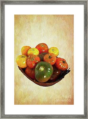 Framed Print featuring the painting Tomatoes In A Basket Wide Ap by Dan Carmichael
