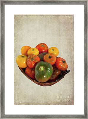 Framed Print featuring the photograph Tomatoes In A Basket Wide by Dan Carmichael