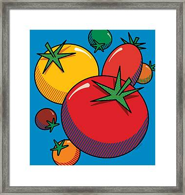 Tomatoes On Blue Framed Print by Ron Magnes