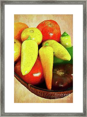 Framed Print featuring the painting Tomatoes Peppers In A Basket Ap by Dan Carmichael