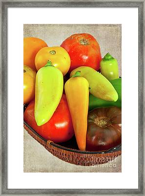 Framed Print featuring the photograph Tomatoes Peppers In A Basket by Dan Carmichael