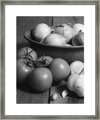 Tomatos Onion And Garlic Framed Print by Henry Krauzyk