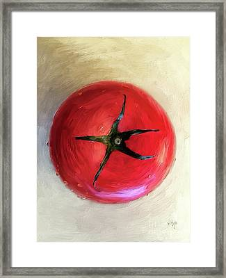 Framed Print featuring the digital art Tomato by Lois Bryan