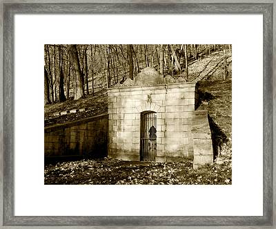 Tomb With A View In Sepia Framed Print