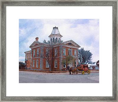 Tombstone Courthouse Watercolor Framed Print by Kathleen Prince