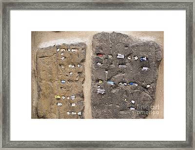 Tombstone Wall In Old Jewish Cemetery. Prague Framed Print