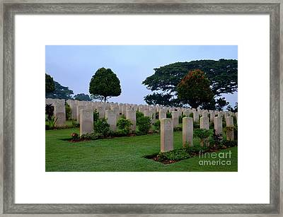 Tombstones Of Soldiers At Kranji Commonwealth War Cemetery Graveyard Singapore Framed Print