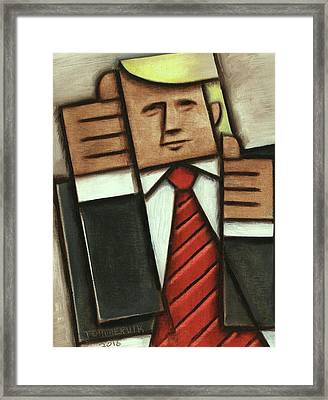 Framed Print featuring the painting Tommervik Abstract Donald Trump Thumbs Up Painting by Tommervik