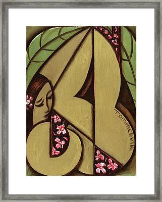 Tommervik Abstract Hawaiian Woman Art Print  Framed Print by Tommervik