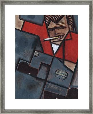 Framed Print featuring the painting Tommervik Abstract James Dean Art Print by Tommervik