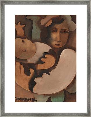 Abstract Mother And Baby Art Print Framed Print by Tommervik