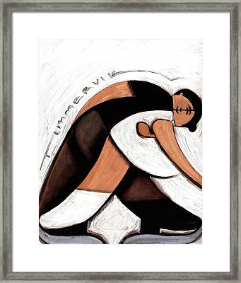 Framed Print featuring the painting Tommervik Abstract Pair Skaters Figure Skating Art Print by Tommervik