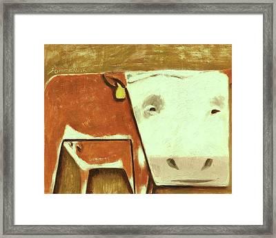 Tommervik Cow Milking Calf Cow Art Print Framed Print by Tommervik