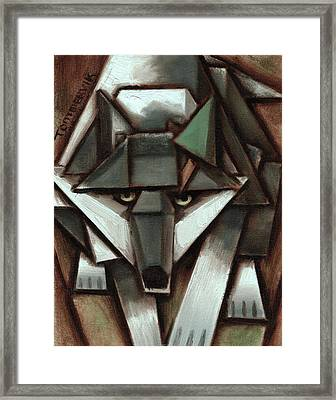 Tommervik Gray Wolf Tree Art Print Framed Print