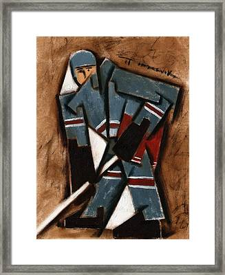Abstract Hockey Player  Art Print Framed Print by Tommervik