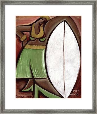 Framed Print featuring the painting Tommervik Hula Girl Surfboard Art Print by Tommervik