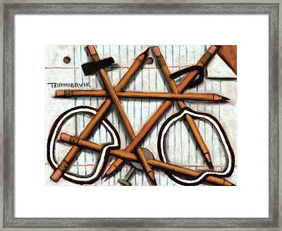Framed Print featuring the painting Tommervik Orange Bicycle Art Print by Tommervik