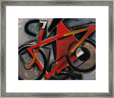 Tommervik Abstract Cubism Red Ten Speed Bike Art Print Framed Print
