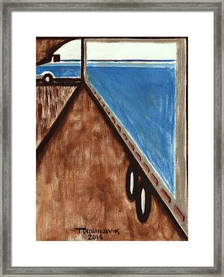 Framed Print featuring the painting Tommervik Semi Stuck Art Print by Tommervik