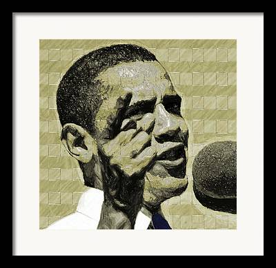 Barack Obama Digital Art Framed Prints