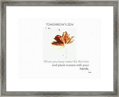 Tomorrow's Zen  Framed Print by Steven Digman