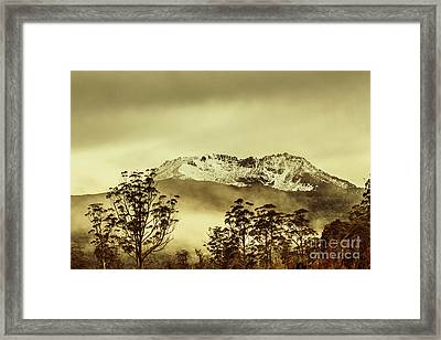Toned View Of A Snowy Mount Gell, Tasmania Framed Print by Jorgo Photography - Wall Art Gallery