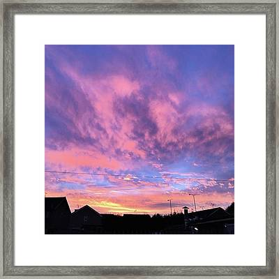 Tonight's Sunset Over Tesco :) #view Framed Print
