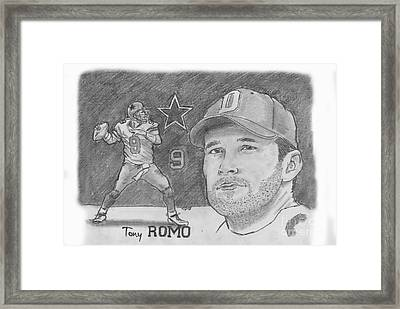 Tony Romo Framed Print by Chris  DelVecchio
