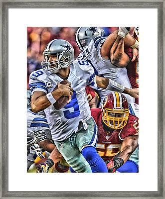 Tony Romo Dallas Cowboys Art Framed Print by Joe Hamilton