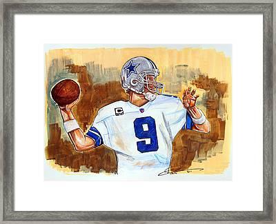 Tony Romo Framed Print by Dave Olsen