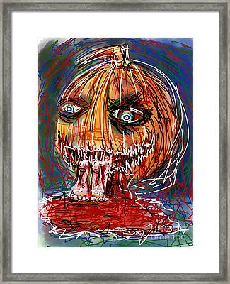 Too Close To The Pumpkin Framed Print by Robert Yaeger