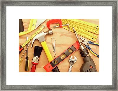 Tools Arrangement Framed Print by Les Cunliffe