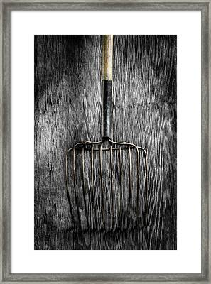 Framed Print featuring the photograph Tools On Wood 25 On Bw by YoPedro