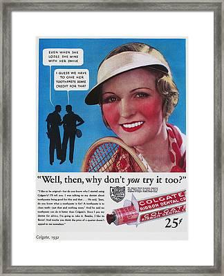Toothpaste Ad, 1932 Framed Print by Granger