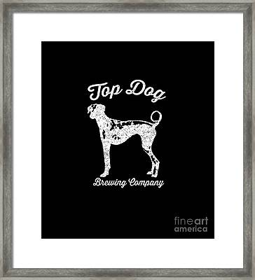 Top Dog Brewing Company Tee White Ink Framed Print