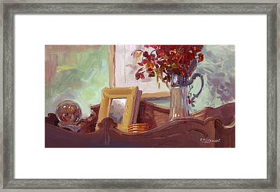 Framed Print featuring the painting Top Of Hutch by John Norman Stewart