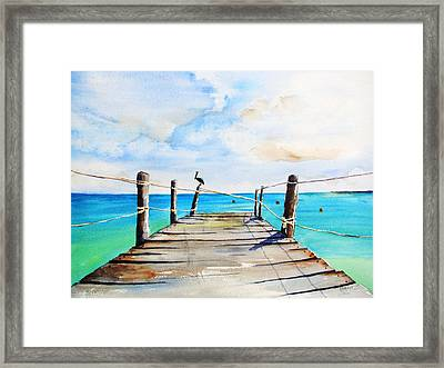 Top Of Old Pier On Playa Paraiso Framed Print