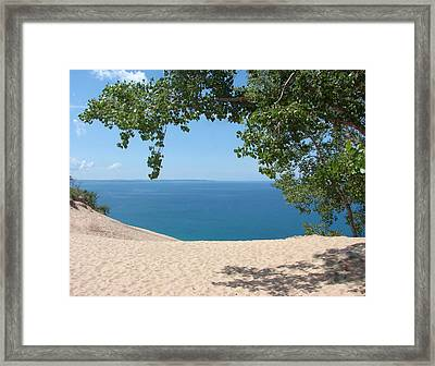 Top Of The Dune At Sleeping Bear Framed Print by Michelle Calkins