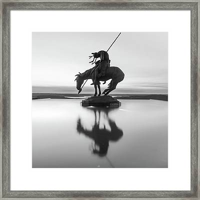 Top Of The Rock Native American Statue Silhouette Reflections Bw Framed Print