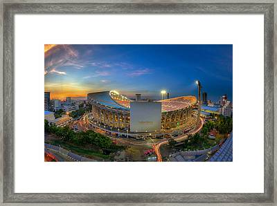 Top View Of Rajamangala Stadium  Framed Print by Anek Suwannaphoom