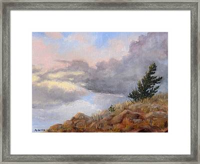 Topaz Skies Framed Print by Debra Mickelson