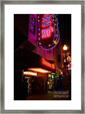 Framed Print featuring the photograph Topless Bar Signs At Night In North Beach San Francisco by Jason Rosette