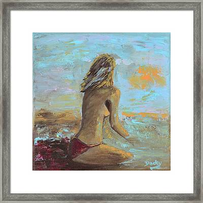 Topless Beach Framed Print by Donna Blackhall