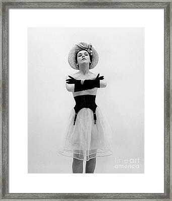 Topless Woman With Long Gloves, C.1950s Framed Print
