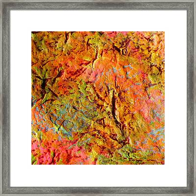 Framed Print featuring the painting Topographical Map Color Poem by Polly Castor